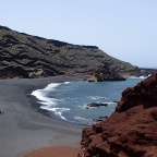 El Golfo - standard view from viewpoint in direction beach of Charco de los Clicos