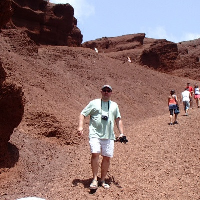 El Golfo - path from the viewpoint to the lake Charco de los Clicos. Yes the rocks are really red !